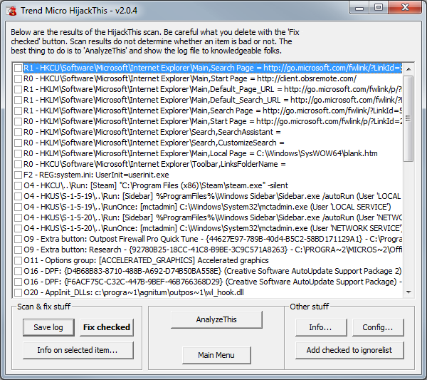 PC Cleanup/HijackThis - Lunarsoft Wiki